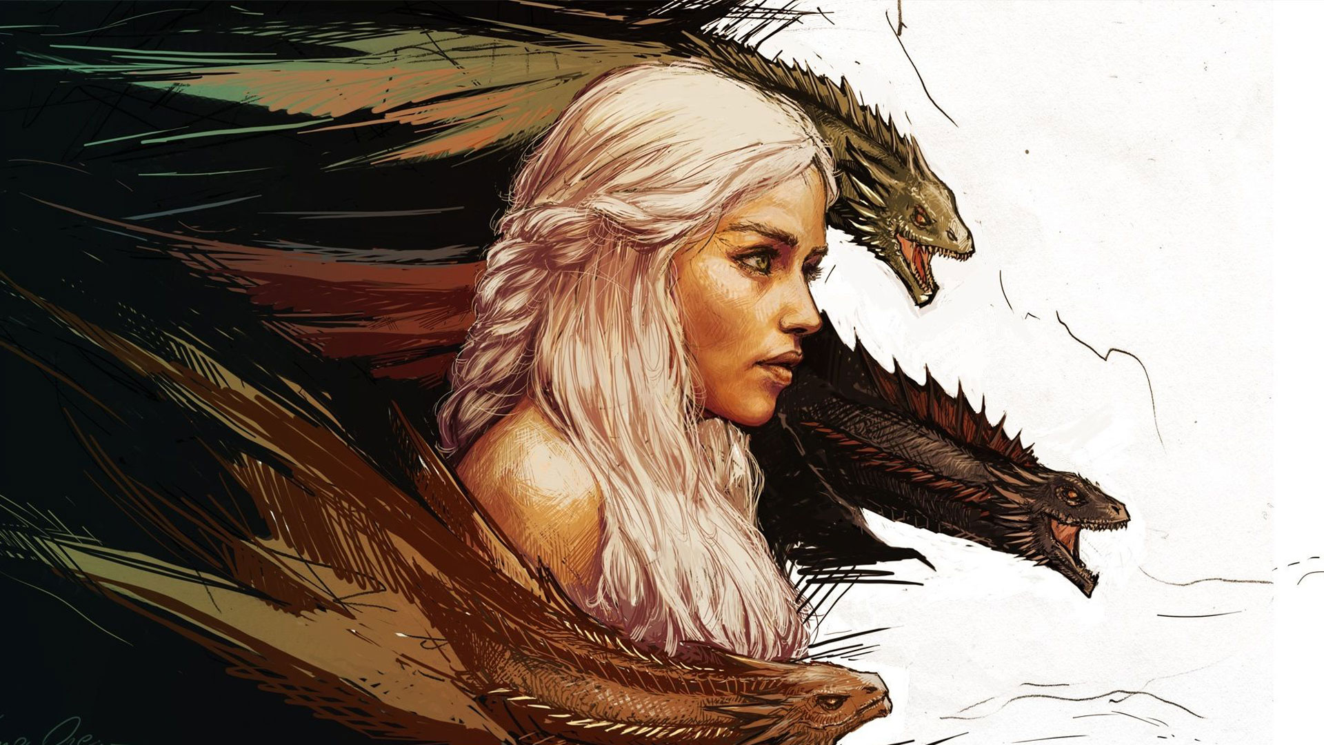 Hand Drawn Daenerys & Her Dragons